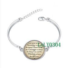 Serenity Prayer glass cabochon Tibet silver bangle bracelets Fashion