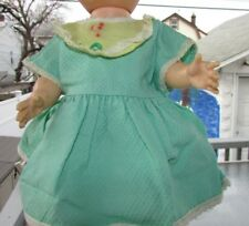 Tiny Tears Baby Doll Dress Pastel Green Yellow Embossed Waffle Rare 1950's 13""
