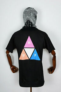 Huf Worldwide Skateboard T-Shirt Tee Prism Triple Triangle TT Black in S
