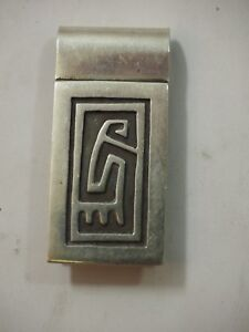 Handsome Vintage Hopi Style Money Clip Sterling Silver Taxco Mexico TO-78