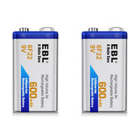 2PCS EBL 600mAh Li-ion 9V Batteries 9 Volt 6F22 Rechargeable Battery For MIC RC
