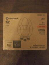 Ecosmart 60W 3 pack dimmable B11 Candelabra base lightbulbs Led