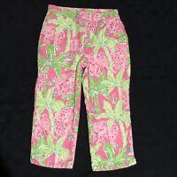 Lilly Pulitzer Girls Size 7 Capri Cropped Pants Pink Green Palm Tree Elephants