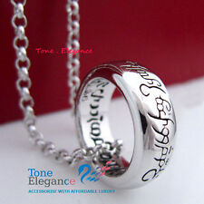 18k white gold GF ladies men  solid wedding lord of the ring long necklace