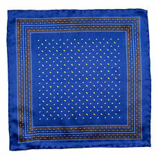 SANTOSTEFANO Handmade Blue Copper Yellow Silk Pocket Square Handkerchief $150