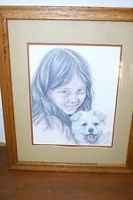PATTI LINDSTRAND 1983 YOUNG FRIENDS GIRL AND ALASKAN MALAMUTE FRAMED AND MATTED