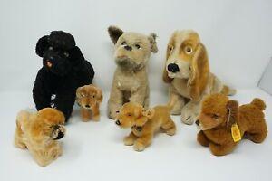 Steiff 7 Hunde im Set, Snobby Pudel, Bazi Dackel, Basset, Mops, Pekinese, antik
