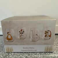 Set of (4) NWT Pier 1 ~ HOLIDAY CATS Stemless WINE Glasses Christmas NEW in BOX