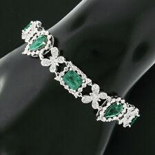 18k White Gold 13.43ctw GIA Colombian Emerald & Butterfly Diamond Link Bracelet