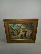 Old oil painting, ( Market place with lots of people, is signed, nice frame! ).