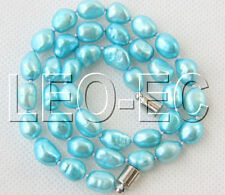 "16"" 10mm Baroque sky blue FW pearls necklace magnet clasp W874"
