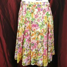 American Living 100% Cotton Floral Lined Zipper Pleated A line Skirt Sz 8