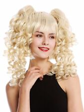 Perücke Damen Cosplay 3-teilig Bob + lange abnehmbare Zöpfe Spirallocken Blond