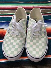 Vans Authentic Mint Green/Black/White Checkered Men's Sz 10.5 Good Condition
