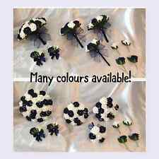 NAVY BLUE Wedding flowers artificial bouquets bride bridesmaid button holes