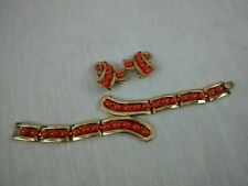 Stunning vintage Crown Trifari Alfred Philippe faux coral bracelet earrings set