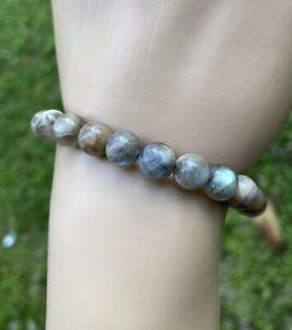 Natural Labradorite Gemstone Crystal Bracelet 8MM Beads Handmade