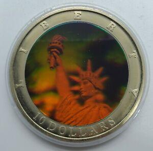 2000 Republic of Liberia $10 coin, Statue of Liberty holograph design! W/ COA