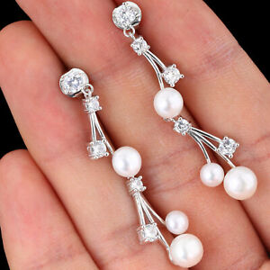 100% NATURAL 7MM FRESHWATER PEARL & WHITE CZ SOLID STERLING SILVER 925 EARRING