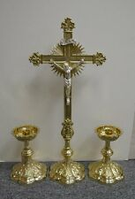 """+ Ornate Brass Altar Cross, 22 3/4"""" tall, with pair of matching Candlesticks +"""