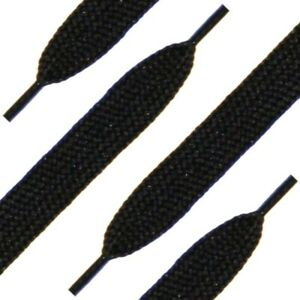 Black Flat 1CM Wide Shoe Laces Football Boots Trainers Golf Shoes