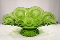 "Vtg ""L E Smith Styled"" Mid-Century Green Glass ""Moon & Stars"" Footed Centerpiece"