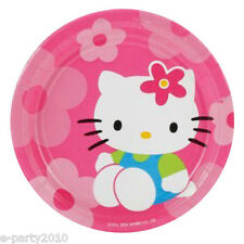 HELLO KITTY Flower Fun SMALL PAPER PLATES (8) ~ Birthday Party Supplies Cake HK