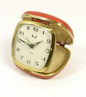 Vintage Travel Alarm Clock Modern Japan Glow Hands Red Case Working