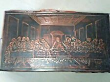 Antique Copper Imprint Hanging Picture Lord Jesus Last Supper Leonardo Davinci
