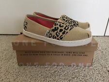 New! Toms Classic Girls Youth Size 3.5 Cheetah Metallic Linen Shoes 10009266