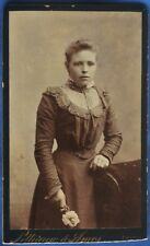 CDV Photo Young Woman White Flower Pettigrew Amos Edinburgh Scotland 1897