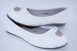 Girls Lace Ballerina Wedding Bridesmaid Shoes Cushioned Comfy Communion Shoes
