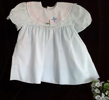 Vintage blue cotton lined embroidery applique bow back lace puff sleeves sz1-2