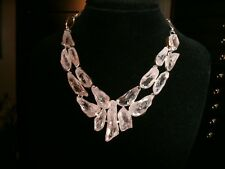 clear crystal  necklace 925 Silver Cleopatra cluster bib adj.