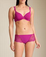 Simone Perele Caressence Collection 34B S Plunge Bra Boyshort Azalea Purple New