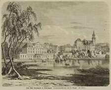BAD SALZUNGEN - BURGSEE MIT KURHAUS & STADTKIRCHE - nach Greth - Holzstich 1863