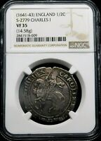 NGC VF-35. STUART. Charles I. Stunning Half Crown 1641-1643 England. Silver Coin