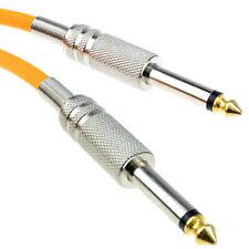 PRO 6.35mm Low Noise Guitar lead Cable Metal Connectors Orange 5m GOLD