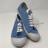 Polo Ralph Lauren Canvas Size 8.5B Light Blue Shoes Lace Up Orange Stripe Marin