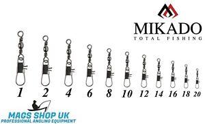 MIKADO ''SENSUAL'' 10 BARREL SWIVEL WITH INTERLOCK SNAP, ALL SIZES, FEEDER,TROUT