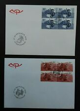 Iceland 2000 SG963/4 Transport - 2 Blocks of 4 (Booklet Stamps) on 2 FDC's