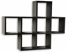 Floating Wall Shelf Black Display Wood 9 Shelves Corner Storage Home Decor Unit