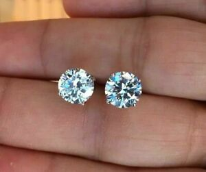 Mens Ladies 3.00 ct. VVS1 Diamond 18K White Gold Filled Screw Back Stud Earrings