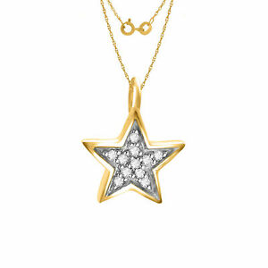"""Natural Diamond Star Pendant W/ 18"""" Chain 14K Gold Over 925 Sterling Silver"""