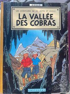 Jo, Zette et Jocko La Vallée des Cobras 1960 B27 Hergé Casterman Bon état