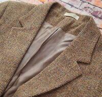 Ladies Harris Tweed Orvis Herringbone Wool Blazer Jacket Size 14