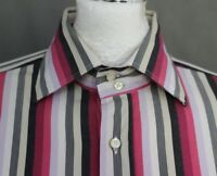 ETRO MILANO Mens Pink Striped SHIRT Size 42 - Large - L - Made in Italy