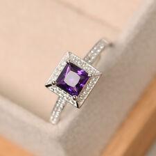 14K White Gold 1.00 Ct Natural Diamond Princess Cut Real Amethyst Ring Size N M