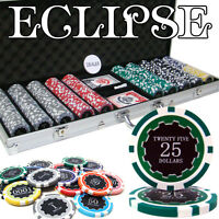 NEW 500 PC Eclipse 14 Gram Clay Poker Chips Set With Aluminum Case Pick Chips