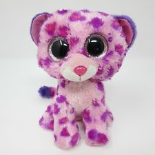 Ty Beanie Boo Glamour leopard purple pink white soft toy plush small 6